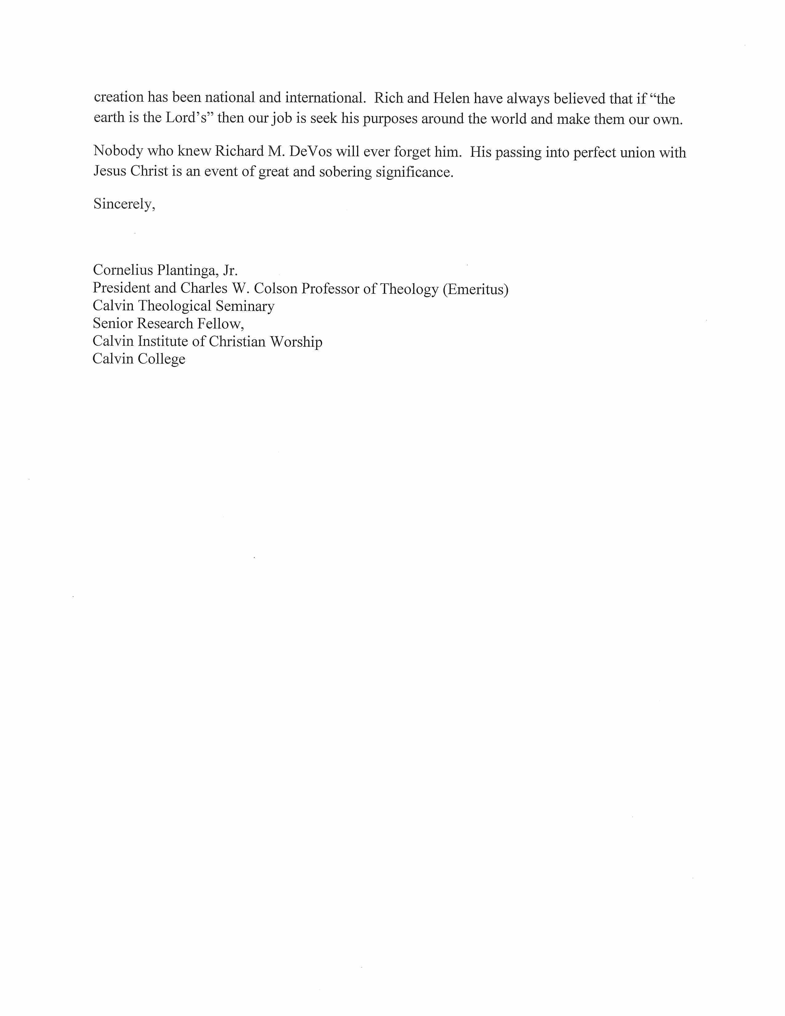 Letter From Cornelius Plantinga, Jr.